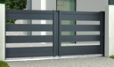 INUI Portail coulissant aluminium Gris RAL 7016