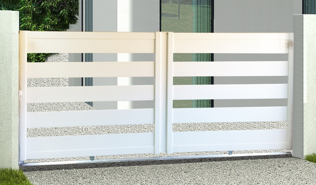 INUI Portail coulissant aluminium Blanc RAL 9010